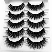 Wholesale super long false eyelashes - 5 Pairs 3D Mink Lashes Full Strip False Eyelash Long Super Thick Eyelashes Mink Lashes Extension G816 Eye Makeup Lashes