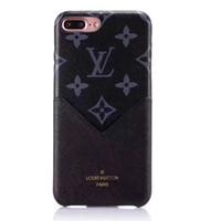 iphone marca híbrida venda por atacado-Marca de luxo pu slot para cartão de couro casos de telefone para iphone xr xs max 8 7 plus 6 s híbrido tpu capa case