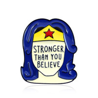 Wholesale enamel pin badges resale online - STRONGER THAN YOU BELIEVE Enamel Brooches Pins For Women Mens Shirt Clothes Backpack Hat Badge Lapel Pin Fashion Jewelry Broches