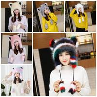 winter Women Faux Fur Lei Feng hat warm earmuffs thickening cute cartoon  fox fur northeast outdoor ear protection animal Trapper Cap AAA1095 0f044dc83154