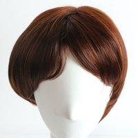 парики коричневые волнистые средней длины оптовых-Короткий коричневый парик для черных женщин ежедневно короткие парики с челкой прямые термостойкие синтетические парики и шапка мужские парики