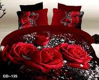 conjuntos de cama de rainha vermelha e rainha venda por atacado-(3-7 peças) 100% Natural Coon 4 estações conjuntos de cama de Luxo Do Casamento duplo queen size lençóis de cama 3d red rose duvet set king size