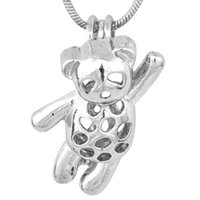 Wholesale lovely bear stainless steel - Lovely Teddy Bear shape Silver Plated Cage Pendant For DIY Wish Love Charms Pendant DIY Jewelry Good Gift Women P88