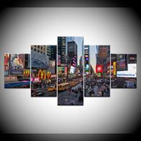 marco de fotos digital cuadrado al por mayor-Imagen del arte de la pared del hogar moderno 5 Panel sin marco Times Square pintura de la lona Ciudad Street Print Poster pintura decorativa Pop regalo