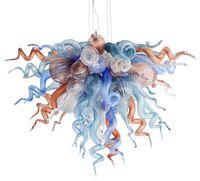 candelabros de cristal de colores modernos al por mayor-Art Design Hand Blown Glass Chandelier Light Multicolor Decorativo LED Glass Colgante Light Modern Crystal Lamparas colgantes