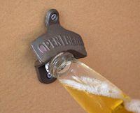 Wholesale iron wall mount bottle opener resale online - 100pcs Wall bottle Opener Wine Beer Mount Copper Cap RUSTIC CAST IRON CAFE BAR WALL OPENer HERE Metal Retro cap catcher vintage