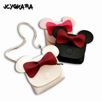 monederos lindos hechos a mano al por mayor-JCYOKARA Kids Cute Mini Messenger Bag Baby Girls Bolso hecho a mano pequeño monedero para niños INS Hottest Bowtie 3 colores