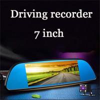 ingrosso logger nero-Il registratore di guida sette pollici doppia lente specchietto retrovisore schermo capacitivo visione notturna HD può essere invertire le immagini Car DVR