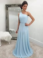Wholesale one shouldered long bridesmaid dresses for sale - Group buy 2019 New One Shoulder Light Blue Bridesmaid Dresses Sweep Train Chiffon Custom Made Maid of Honor Gown BM0176
