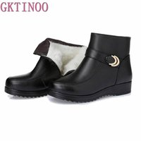 Wholesale Wedge Ankle Wool Boots - Snow Boots Genuine Leather Women's Shoes Mother Ladies Female Winter Wool Fur Wedges warm boots Plus Size35-43