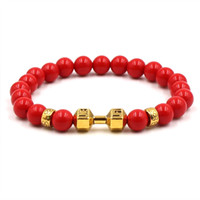 Wholesale dumbbell beads for sale - Group buy Chakra Bracelet Charm Bead Bracelet Fatima Buddha head Dumbbells Bracelets