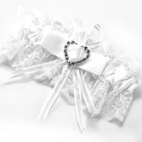 белый кружевной горный хрусталь оптовых-Подвязки белое кружево свадебный аксессуар счастливая невеста лук горный хрусталь сердце эластичная лента #67