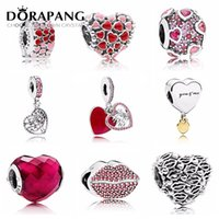 Wholesale red lips bracelet online - DORAPANG Valentine s Day Newest Sterling Silver Bead Red Lip Heart shaped Charm for Women Fashion DIY Bracelet Bangle