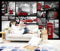 ingrosso murales rossi-Retro Buildings Large Mural Londra Night Scene Red Bus Cafe Wallpaper Wallpaper TV Sfondo del salotto
