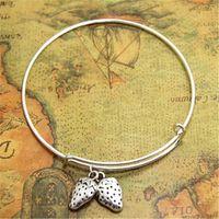 Wholesale fruit charm bracelet - 12pcs lot Strawberry bracelet Custom bangles adjustable Strawberry Fruit Charm Jewelry