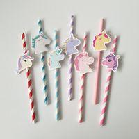 mavi kağıt çöp toptan satış-7 Renkler Unicorn Kağıt Içme Payet Pembe Mavi Mutlu Doğum Günü İçme Saman Tek Kullanımlık unicorn Hasır Sofra Parti Dekor AAA683