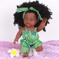 siyah oyuncak bebek toptan satış-Trendy Siyah Kız Bebekler Afro-Amerikan Oyun Bebekler Gerçekçi 12 inç Bebek Noel Hediyesi Çocuklar Için Iyi Oynamak Yeni Oyuncaklar