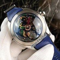 caja de gafas de goma al por mayor-Nuevo Bubble Steel Case Color Esqueleto Dial Automatic Reloj para hombre Blue Rubber Strap 6 Estilos Glass Back Relojes CRM25a1