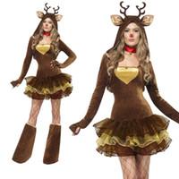 trajes de rena adulta venda por atacado-Renas do Papai Noel cos Costume de Natal das mulheres traje cosplay roupas de Natal sexy