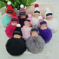Wholesale baby boy cars - Cute Sleeping Baby Doll Keychain Pompom Rabbit Fur Ball Key Chain Car Keyring Women Key Holder Bag Pendant Charm Accessories 340020