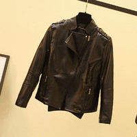 Wholesale Peplum Leather Jacket - Faux Short Leather Jacket Women Stud rivet Moto Biker Zip Coats chaqueta Blazer PU Jack jaqueta couro Rock cuir femme casaco for Spring