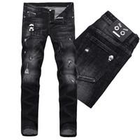 ingrosso rivestimento in pelle nera-Jeans aderenti neri Denim Jeans Uomo Fashion Design Slim Fit Patch in pelle invecchiata Cotton Pants Uomo