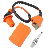 Wholesale gy6 cdi - Racing CDI+Ignition Coil+Spark Plug Motorcycle Performance C.D.I Ignition Coil Spark Plug Plugs Fit Gy6 50cc 125cc 150cc GGA264 30PCS
