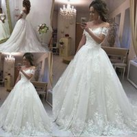 Wholesale lace up sexy wedding dresses online - Vintage Lace A Line Wedding Dresses Off The Shoulder Short Sleeves Appliques Modest Bridal Gowns Country Wedding Gowns