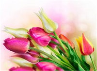 tintas de tulipa venda por atacado-Diy pintura diamante kit ponto cruz strass mosaico de decoração para casa flor tulipa pintura praça cheia de diamantes bordados zxh1319