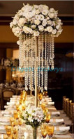 Wholesale crystals for wedding decor - Gold wedding centerpiece acrylic bead strands ,60cm tall K9 crystal flower stand for wedding table decor With K9 crystal bead and pendant .