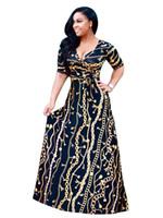 vestido novo indiano quente venda por atacado-Vestido indiano Sari 2017 Novo Algodão Europeu Moda Hot Ouro Longo Padrão de Cadeia de Impressão Luva Boate Vestido Sexy Saia