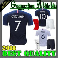 Wholesale national football team shirts - france kids kit pogba soccer Jersey 2018 World Cup 18 19 PAYET DEMBELE MBAPPE GRIEZMANN KANTE national team football shirts COMAN AWAY whit