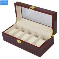 глянцевые подарочные коробки оптовых-5 Grids Men's Big Watch Box&Case  Wood Glossy Lacquer Display Jewelry Window Top Organizer Jewelry Exhibitor Gift Box Hour