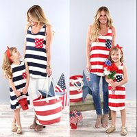 Wholesale women american flag dress - Family Matching clothes Mother daughter American flag T-shirts dress 2018 summer women tops baby stripe princess dress C4060
