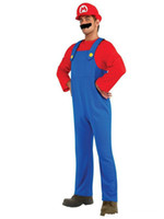 Wholesale sexy police woman costumes online - Sexy Halloween Costumes Men Super Mario Luigi Brothers Plumber Costume Jumpsuit Fancy Cosplay Clothing For Women Adult Men