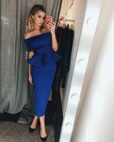 vestidos de longitud de té azul real al por mayor-Árabe Dubai 2018 Royal Blue cóctel vestidos de hombro volantes té longitud corta vestidos de baile de regreso a casa vestidos de fiesta personalizado