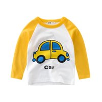 Wholesale green truck cars online - baby top Long sleeve Autumn Spring Baby Girls Boys Long Sleeve Cartoon Striped Soft Tops Cars Trucks Striped Autumn Shirt