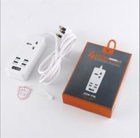 Wholesale usb plug strip - T06 T07 Home Office Power Bank Strip 4 USB Charger Ports 2 Standard Socket EU US UK AU PLUG with retail