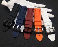 черные белые браслеты оптовых-22 мм 24 мм 26 мм красный синий черный оранжевый белый ремешок для часов силиконовая резина ремешок для ремешка браслет пряжка PAM логотип на
