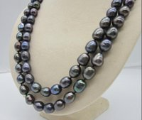 Wholesale 35 inch south sea pearls for sale - Group buy RARE MM REAL SOUTH SEA BAROQUE BLACK PEARL NECKLACE INCH k