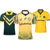 Wholesale australian shirt online - 2018 World Cup AUSTRALIA WALLABIES JERSEY rugby Jerseys NRL National Rugby League shirt Australian wallabies shirts s xl