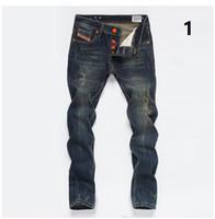 pequeños pies de jeans al por mayor-Envío gratis nuevas marcas de jeans para hombre reparación recta recta hacer viejos pies pequeños hombres pantalones largos pantalones vaqueros retro tamaño 28-40
