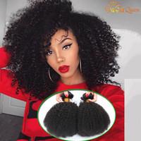 cheveux vierges brésiliens afro bouclés achat en gros de-8A Brésiliens Afro Kinky Bouclés Cheveux Faisceaux Vison Brésiliens Bouclés Vierges Extensions de Cheveux Humains Afro Kinky Bouclés Tisse Gaga Reine Cheveux