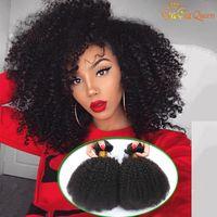 königin menschliche jungfrau erweiterungen haar großhandel-8A brasilianisches Afro verworrenes gelocktes Haar Nerz brasilianische gelockte Jungfrau-Haarverlängerungen Afro verworrenes gelocktes webt Gaga-Königin-Haar