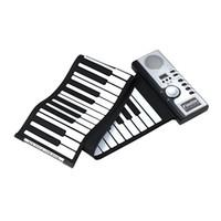 usb midi klavye toptan satış-61 Tuşlar Esnek Synthesizer El Rulo Roll-Up Taşınabilir USB Yumuşak Klavye Piyano Hoparlör MIDI MIDI Inşa Elektronik Piyano