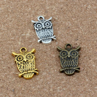 CUTE WIZE OWL Charms Pendants 100Pcs lot 14x22.5mm Antique Silver  gold   bronze Fashion Jewelry DIY Fit Bracelets Necklace Earrings A-231v