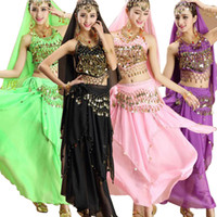 Wholesale bollywood woman costume online - New Set Female Belly Dance Costumes Bollywood Indian Dress Party Belly dance Dress Women Stage wear Belly Dancing Costume