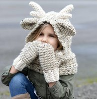 Wholesale Knitted Animal Hats For Kids - Scarf Gloves Set Hats Girls Winter Kids Elk Animal Knitted Hood Beanies for Autumn Winter Party Gifts Glove set 3 Colors Free Shipping