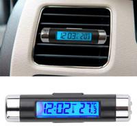 Wholesale Digital Lcd Calendar - 2in1 Car Auto LCD Clip-on Digital Temperature Thermometer Clock Calendar Automotive Blue Backlight Clock Free Shipping