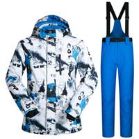 termal kayak giysileri toptan satış-Erkek Açık Kayak Takım erkek Rüzgar Geçirmez Su Geçirmez Termal Snowboard Kar Erkek Kayak Ceket ve Pantolon Setleri Kayak Giyim Paten